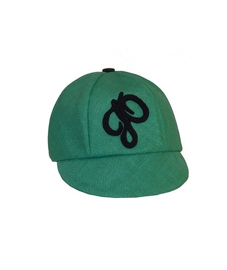 Green Italian Raffia Cap Trimmed with Velour JO
