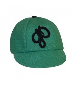 Green Italian Raffia Cap Trimmed with Velour JO