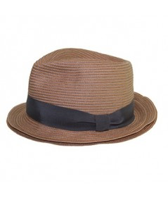 Colored Stitch Double Brim Fedora Hat with Grosgrain Band