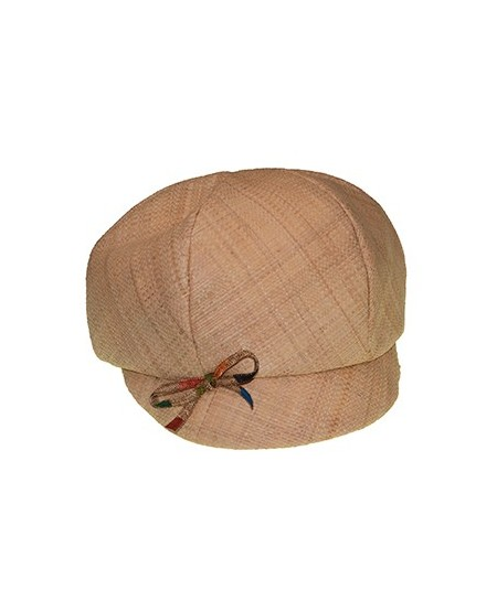 Italian Raffia Cap with Painted Straw Bow