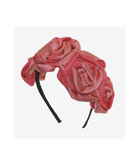 Coral Handmade Satin and Grosgrain Roses Headpiece