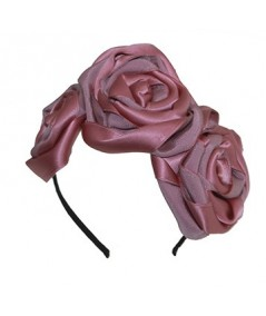 Old Rose Handmade Satin and Grosgrain Roses Headpiece