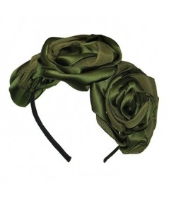 Olive Handmade Satin and Grosgrain Roses Headpiece