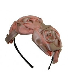 Peach and Beige Handmade Satin and Grosgrain Roses Headpiece