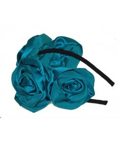 Turquoise Handmade Satin and Grosgrain Roses Headpiece