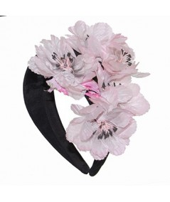 Pink Vintage Flowers on Black Headband
