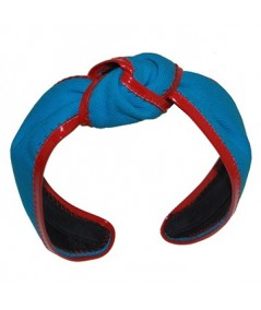 Aqua with Red Twill and Leather Harlow Turban
