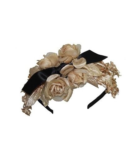 Beige and Black Flower Headpiece