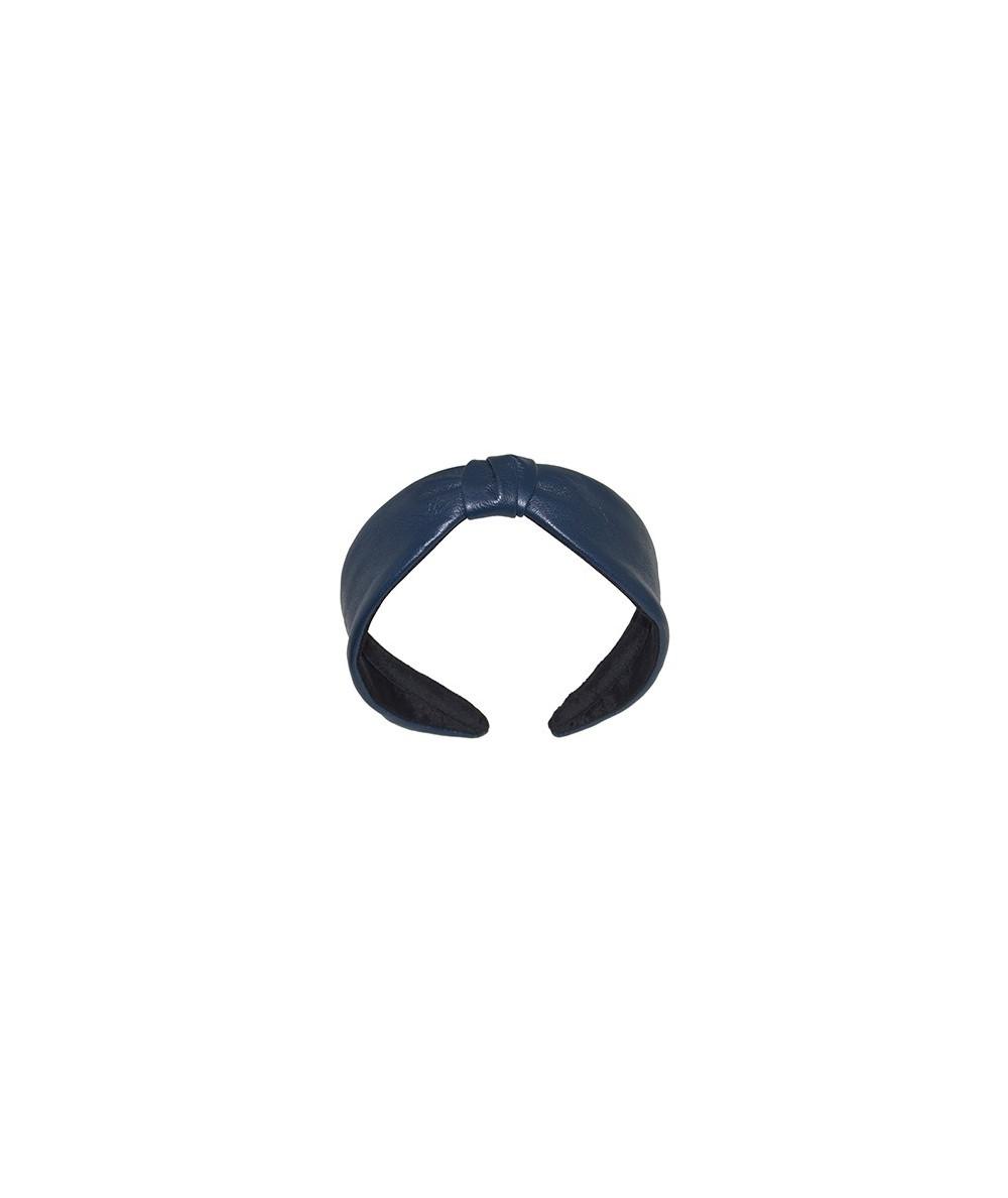 Light Navy Leather Center Divot Headband