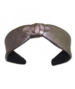 Pewter Leather Center Divot Headband