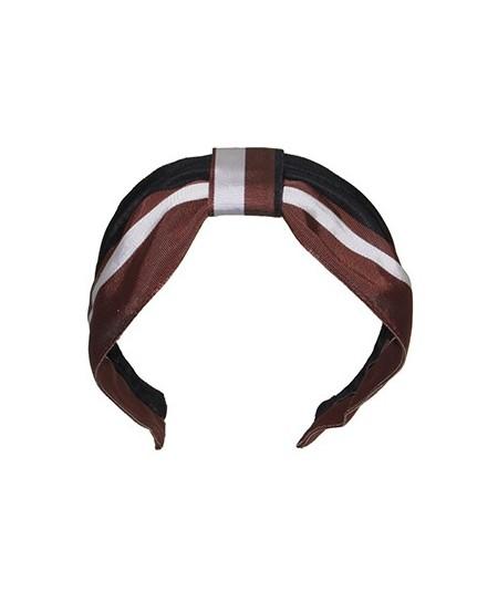 Brown Black Ivory Grosgrain Stripe Center Turban