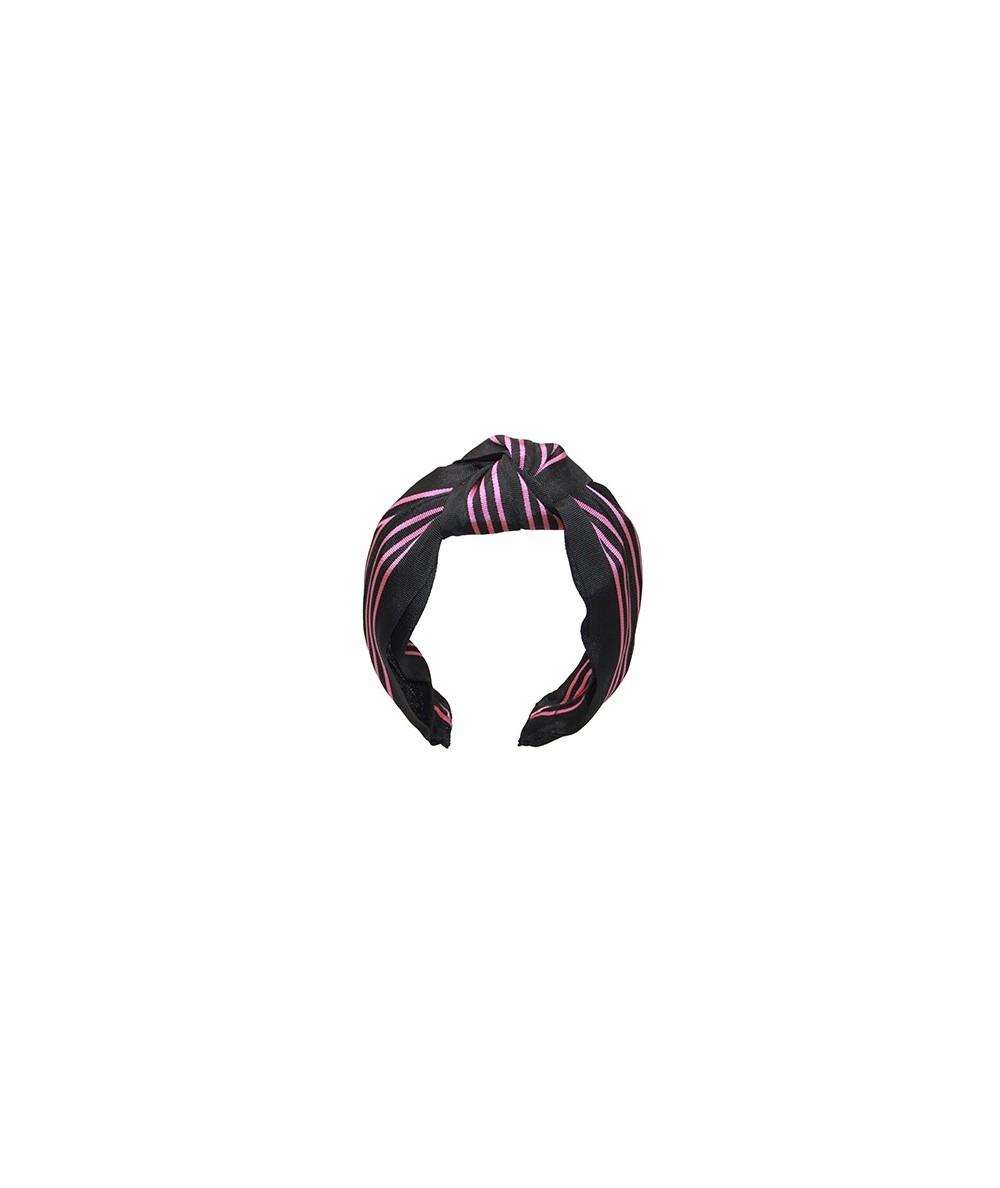 Black Pink Grosgrain Stripe Blair Turban