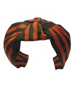 Orange Olive Grosgrain Stripe Blair Turban