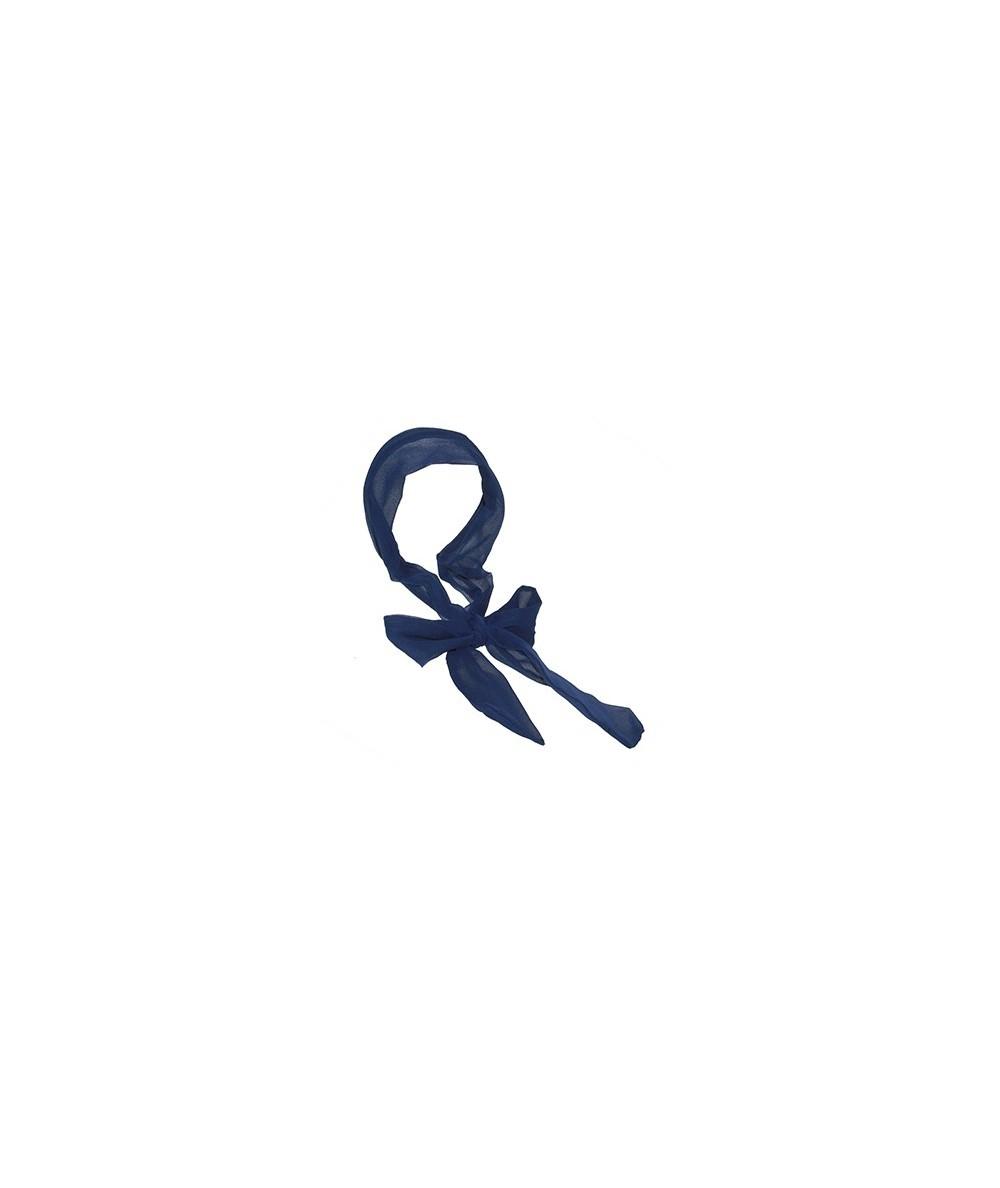 Navy Silk Long Ties Headband