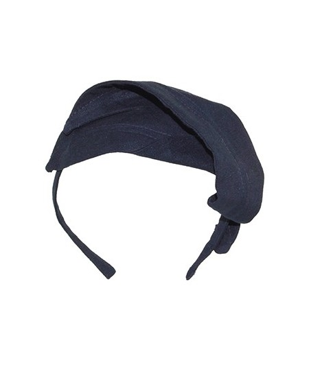 Navy Linen Leaves Abstract Headpiece