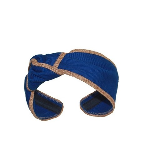 Royal Cotton Twill Side Turban with Wheat Toyo Trim
