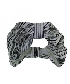 Black White Stripe Cotton Print Head Wrap