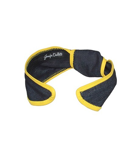 Indigo Denim with Sun Yellow Leather Side Turban Headband