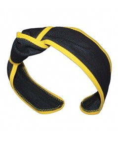 Indigo Denim with Sun Yellow Leather Side Turban Headband