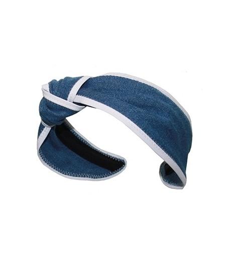 Medium Blue Denim with White Leather Side Turban Headband