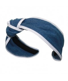 Medium Blue Denim with White Leather Side Turban Headband