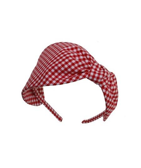 Red Gingham Check Headband