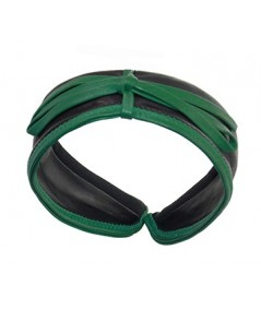 Black with Kelly Green leather-valentine-center-bow-headband