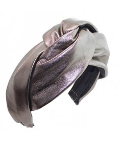 Pewter Leather Center Twist Turban Headband