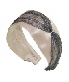 Beige Satin with Metallic Tulle Side Divot and Color Stitch Headband