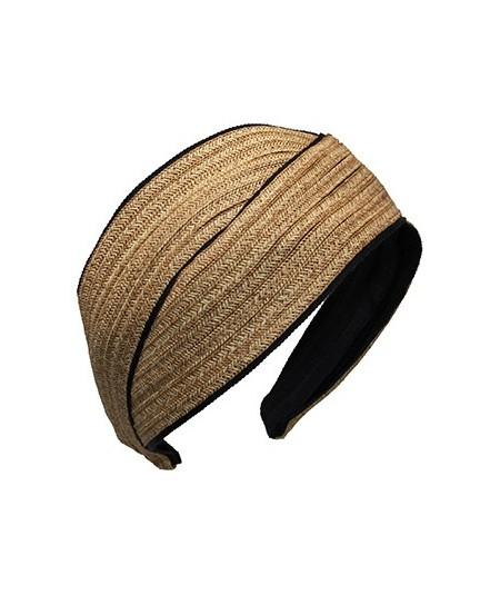 Wheat Toyo with Black Grosgrain Turban Headpiece
