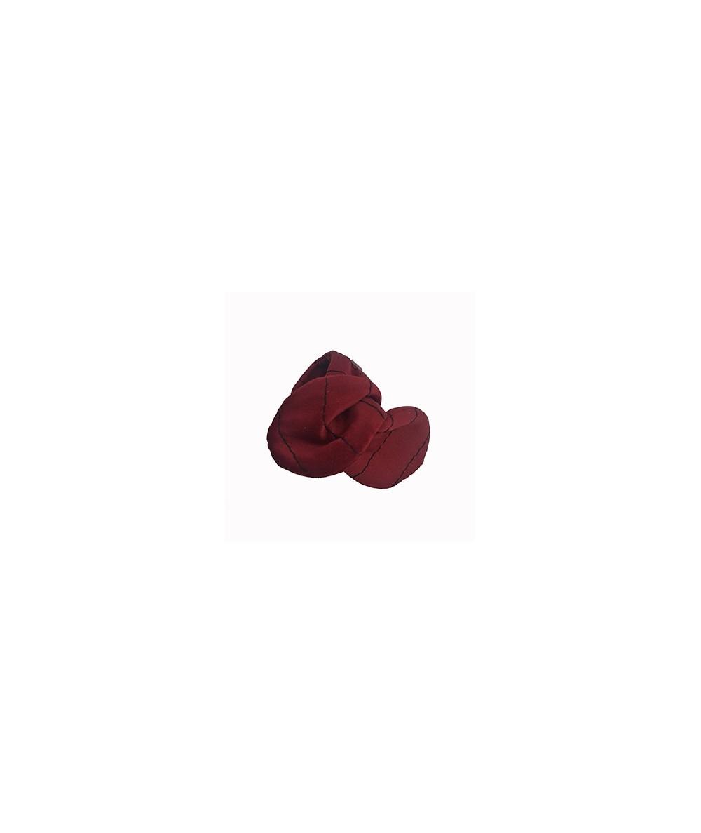 Rouge Satin Stripe Wired Ponytail Holder