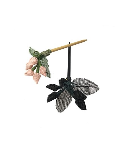 Pale Pink - Black Raffia Berries and Leaves Hair Stick