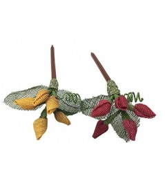 Marigold - Rouge Raffia Berries and Leaves Hair Stick