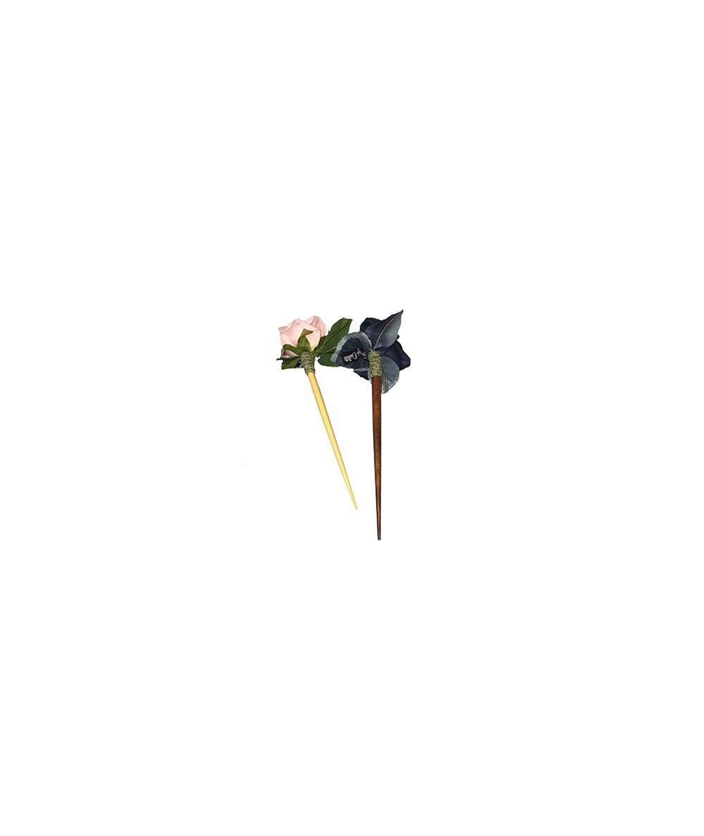 Pale Pink - Dior Blue Rose with Leaves Hair Stick