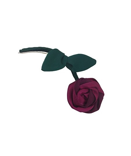 Fuchsia Rose with Green Stem Hair Clip