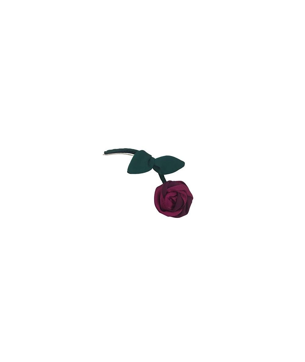 Fuchsia Rose with Green Stem Hair Clip