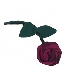 Rose with Green Stem Hair Clip