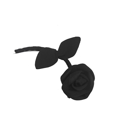 Black Tonal Rose with Stem Hair Clip