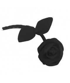 Black Tonal Rose with Stem Hair Clip