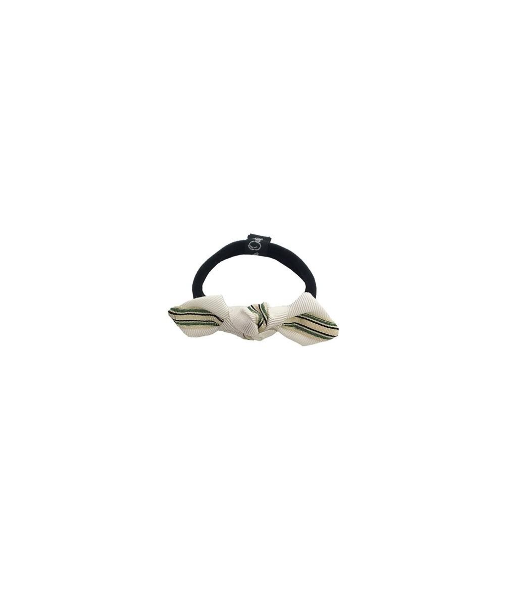 Green Grosgrain Stripe Bow Ponytail Holder