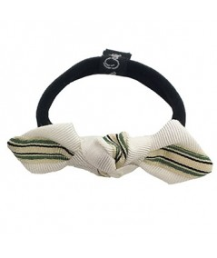 Green Grosgrain Stripe Bow Ponytail Holder