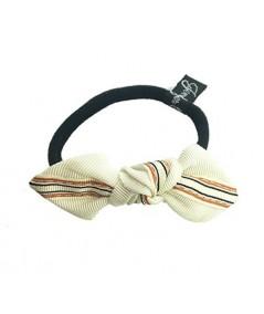 Orange Grosgrain Stripe Bow Ponytail Holder