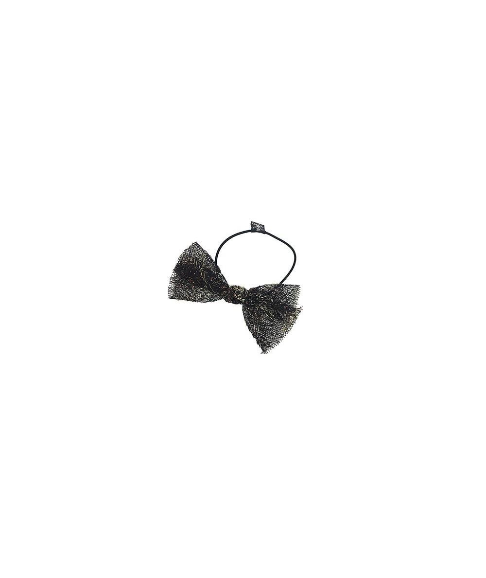Metallic Floral Tulle Ponytail Elastic
