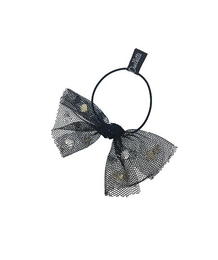 Metallic Dotted Veiling Bow Hair Elastic