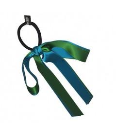 Emerald Turquoise Satin Double Large Bow Ponytail Holder