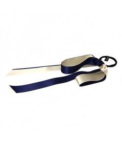 Navy Ivory Satin Double Large Bow Ponytail Holder