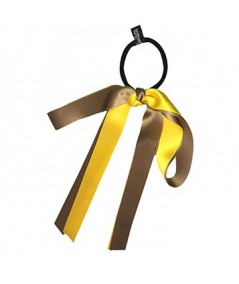 Sable Yellow Gold Satin Double Large Bow Ponytail Holder