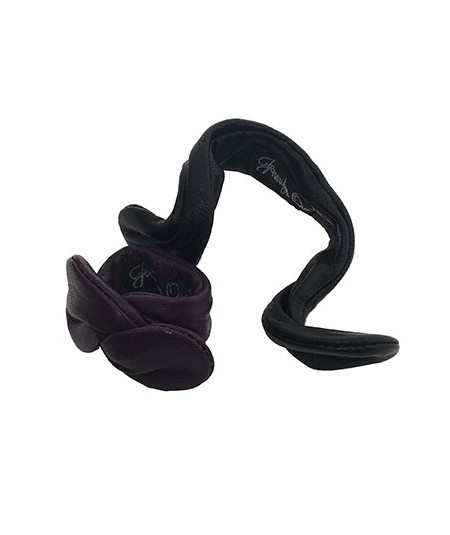 Violet - Black Leather Wired Hair Ponytail Holder