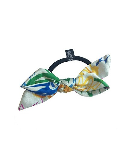 Multi Floral Silk Floral Print Bow Ponytail Holder