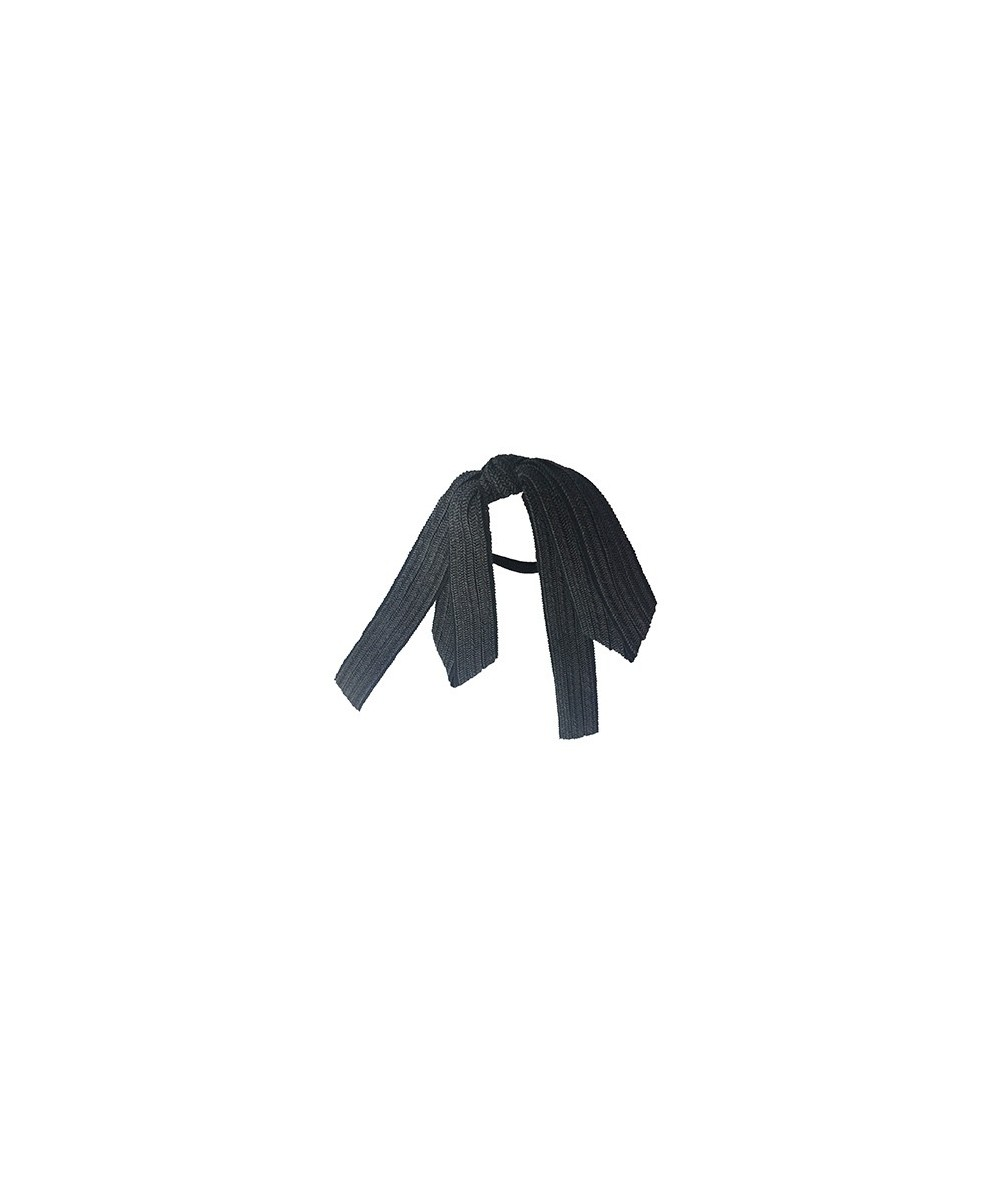 Black Straw and Grosgrain Long Bow Ponytail Tie